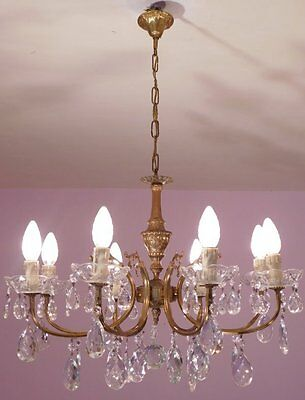 Opulent 8 Light Vintage French Crystal and Bronze Chandelier