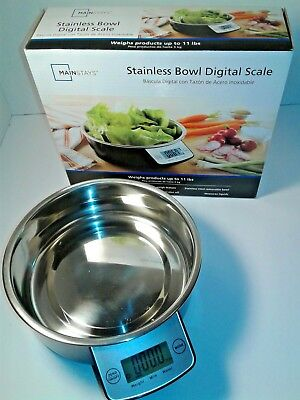 DIGITAL FOOD SCALE By Main Stays (up to 11 lbs.) Stainless Steel Removable Bowl