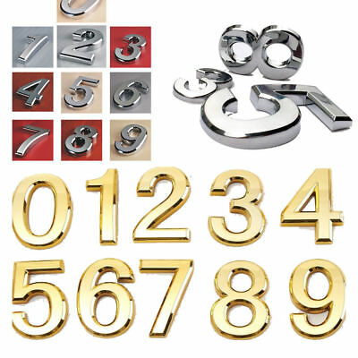 House Numbers Door Numbers Numerals Modern Self Adhesive Plastic Silver or Gold