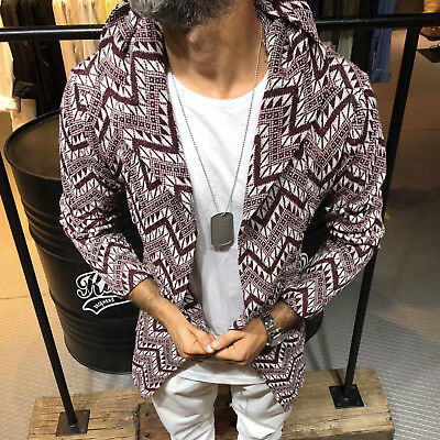 Hoodie Mens Sweater Striped PatternPockets Oversized Slim Fit SHIP TODAY 3502
