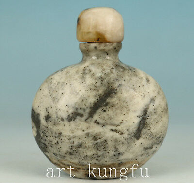 Exquisite Old Natural Jade Inside Hollow Out Beautiful Snuff Bottle
