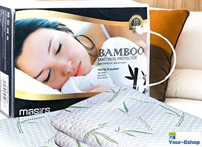 Bamboo Mattress Protector Cooling Waterproof Bed Bug Cover Hypoallergenic Topper