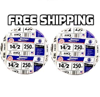 Romex 500' 2 x 250 Rolls 14-2 AWG Guage NM-B Indoor Electrical Copper Wire Cable