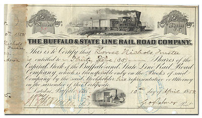 Buffalo & State Line Rail Road Company Stock Certificate (1858)