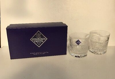 Edinburgh Crystal Pair Of Whisky Glasses - Boxed