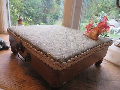 Charming Vintage French Fabric Covered  Mercerie / Work Box ~ With Sundries !