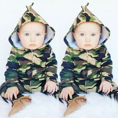 Newborn Baby Boy Kid Romper Bodysuit Jumpsuit Playsuit Camouflage Outfit Clothes