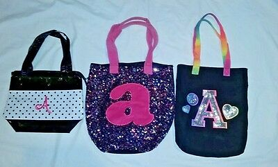 """""""A"""" monogrammed bags/SET OF 3/2 totes bags and 1 purse"""