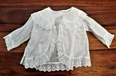Fine Lawn/muslin Embroidered Baby Jacket