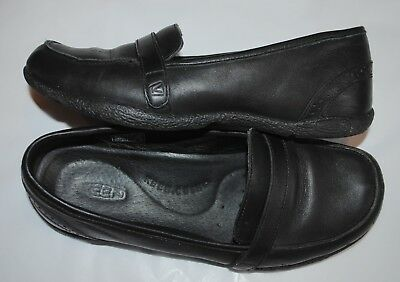 KEEN 5471-black leather slip on Loafers shoes size 8.5M 39