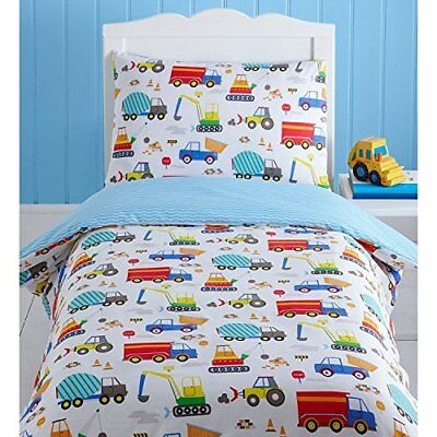 Childrens Bright Trucks and Diggers Single Duvet Cover Bedding Set
