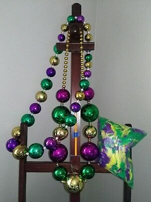 Mardi Gras Jester GIANT Beads necklace lot feather boa Costume HALLOWEEN party