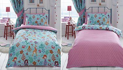 Kids Girls Reversible Mermaid Double Duvet Quilt Cover Bedding Bed Set