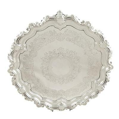 """Antique Edwardian Sterling Silver 11"""" Tray/salver - 1902"""