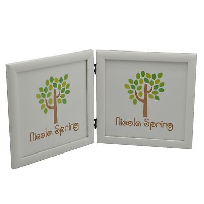 Double Photo Frame Picture Frames Folding Standing Hinged White 8x8