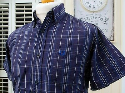 Fred Perry Navy Check Button-Down Shirt - S/M - Ska Mod Scooter Casuals Skins
