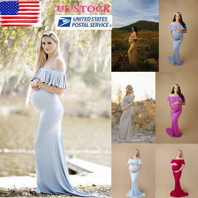 US Pregnant Womens Off Shoulder Ruffle Long Maxi Maternity Dress Gown Photo Prop