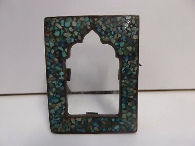 Antique Eastern Turquoise Inlaid Miniature Picture Frame