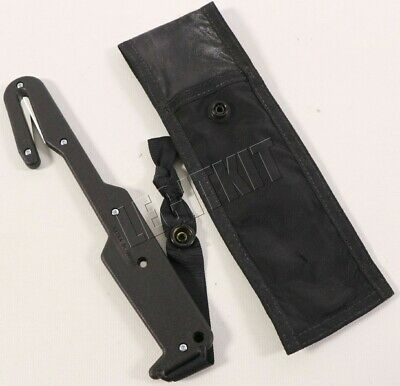 "Jack Safety Hook 8"" Knife BLACK Strap Cutter w/ Pouch, Extra Blades"