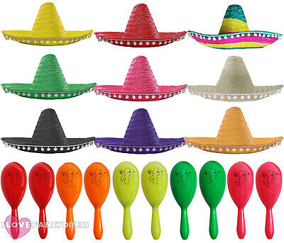 Mexican Sombrero Hat And Maracas Wild West Bandit Fancy Dress Costume  Accessory bb4f0909c064