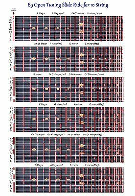 E9Th Tuning Slide Rule Chart For 10 String Lap Pedal Steel Guitar - Improvise !