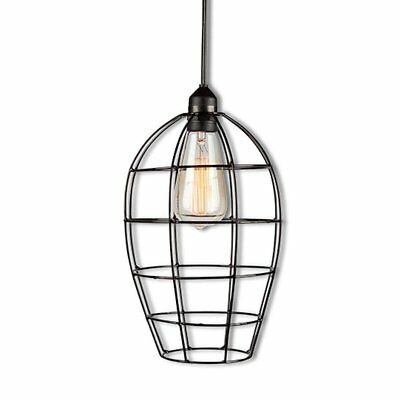 """Edison Antique Vintage Industrial Plug In Pendant Light Swag Lamp Wire Cage 5-7"""""""