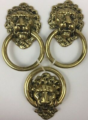 Vintage Original Cast Brass Lion Head Detailed Drawer Pull Handles Lot Of 3