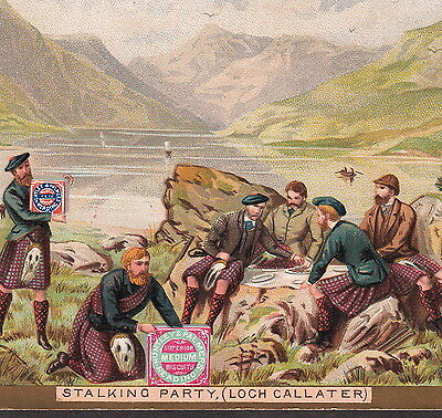 Scottish Loch Callater Stalking Hunting Huntley Palmer Biscuit Advertising Card