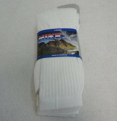 Bulk Lot of 300 Pairs Mens White Crew Socks with Gray Heels sz 10-13