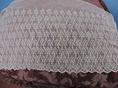 Antique Edwardian Era Embroidered Net Lace For Dress