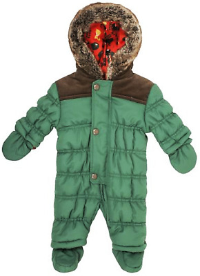 New Ex Boots Baby Boys Mini Club Green Padded Fur Hooded Snowsuit  0-24 Month