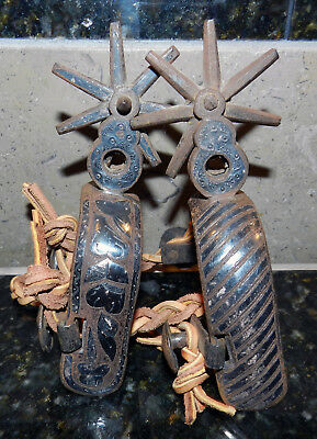 Untouched Antique Silver Mounted Inlaid Mexican Cowboy Spurs Pair Vaquero Charro
