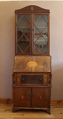 Antique 19th Century Walnut and Inlaid Bureau Bookcase