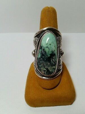 LRG Vintage Navajo Man Or Woman Sterling Silver Turquoise Ring Sz 10.5