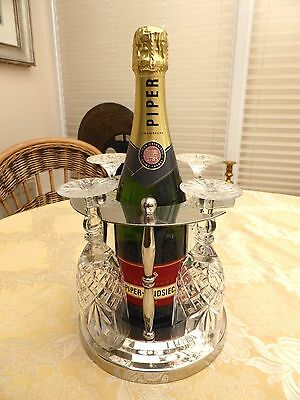 VINTAGE WINE BOTTLE AND GLASSES STAND WITH BAZE COVERED BASE  #1270706a/710
