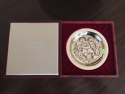 """1972 Sterling Silver Norman Rockwell """"the Carolers"""" Christmas Plate By Franklin"""