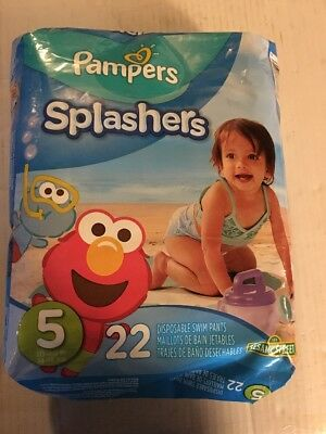 Pampers Splashers ELMO Disposable Swim Diapers 22 Count Size 5 30-40 lb
