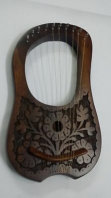 Lyre harp 10 Metal Strings Rosewood With Black Bag and Tuning Key