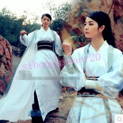 Chinese Style Womens Mens Ancient Costume Stage Dress Hanfu Cosplay Swordsman sz
