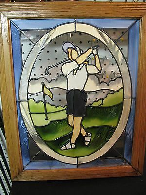 GOLFER LADY STAINED GLASS FRAMED female swinging golf club vintage