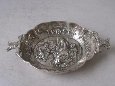 Pretty Embossed Dutch Solid Silver Pin Dish 1924/ L 8.5 cm/ 31 g