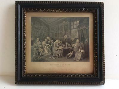 really old picture antique print Hogarth marriage a la mode