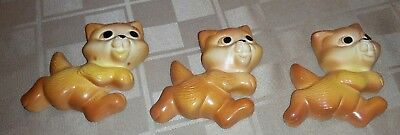 Lot of 3 Chalk Figurines Small Hanging Cats Orange Tabby Running Upright Vintage