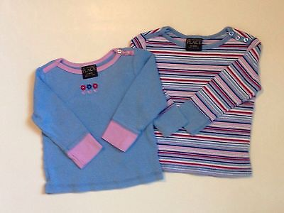 Baby Toddler Girl Pink Blue Long Sleeve Tops Place 12 Months Lot Of 2 EUC