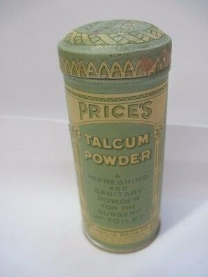 Antique Price's Talcum Powder Full Tin FDA DATE June 30, 1908