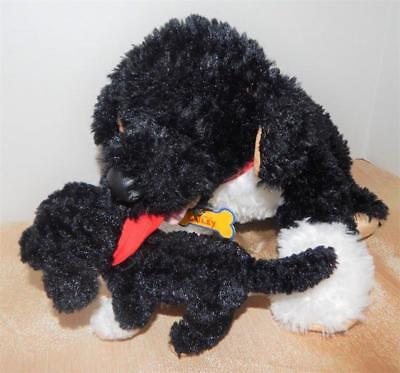 BUILD A Bear Set Portuguese Water Dog With  Mini Puppy Plush Black And White