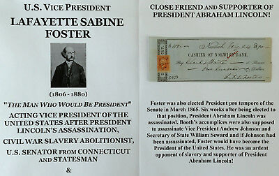 Civil War Lincoln Assassination Vice President Senator Document Signed Check Vg!