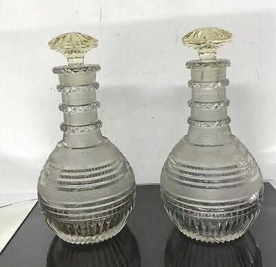 Awesome Pair Of Antique High Quality Glass Decanters With Fine Cuts