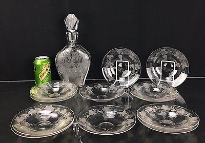 Gorgeous Antique French Baccarat Crystal Decanter & 12 Plates Etched Grape Motif