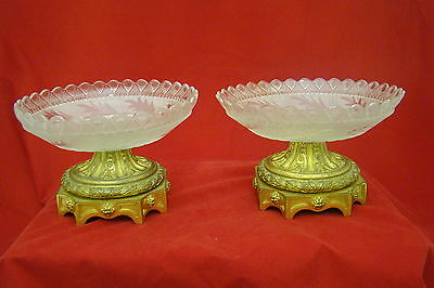 Gorgeous Antique Pair of Glass Centerpieces with Beautiful Bronze Bases